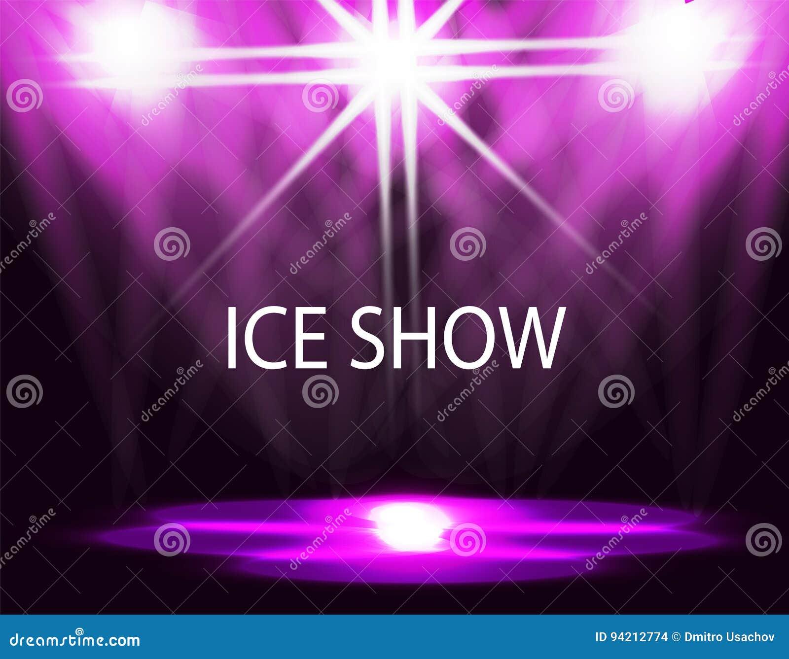 Inskrift för isshow Belysning av isbanan, catwalk, flodljus Abstrakt begrepp Purpurfärgad bakgrund illustration
