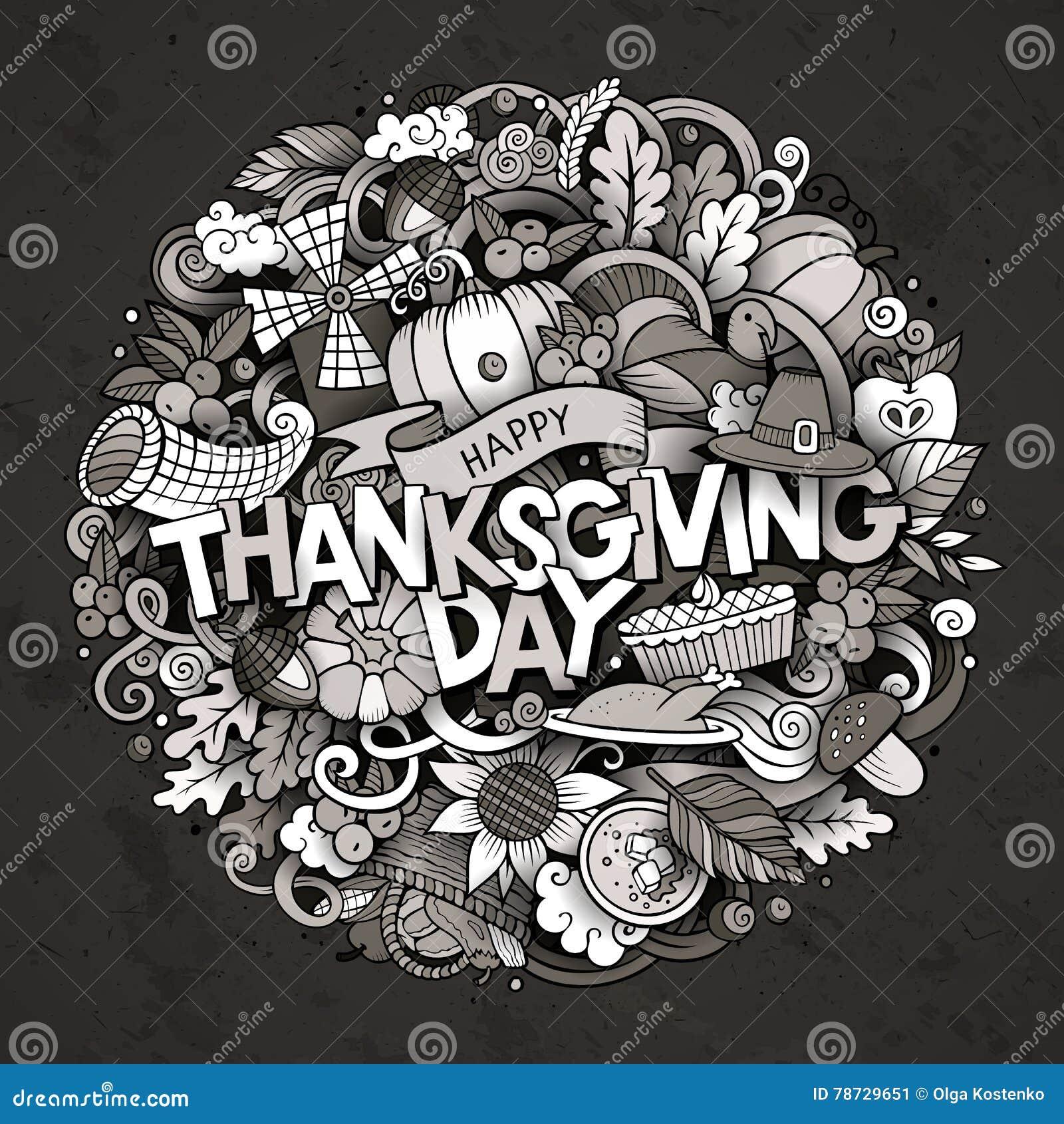 Inskrift för tacksägelse för klotter för tecknad film gullig hand dragen