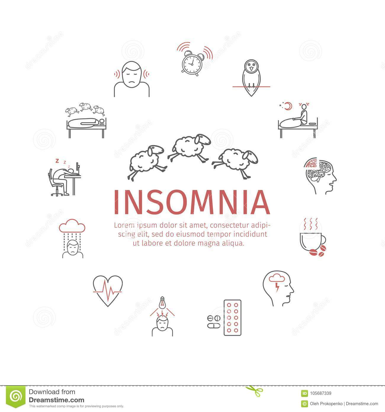 Insomnia Banner, Symptoms  Line Icons Set  Vector Signs For