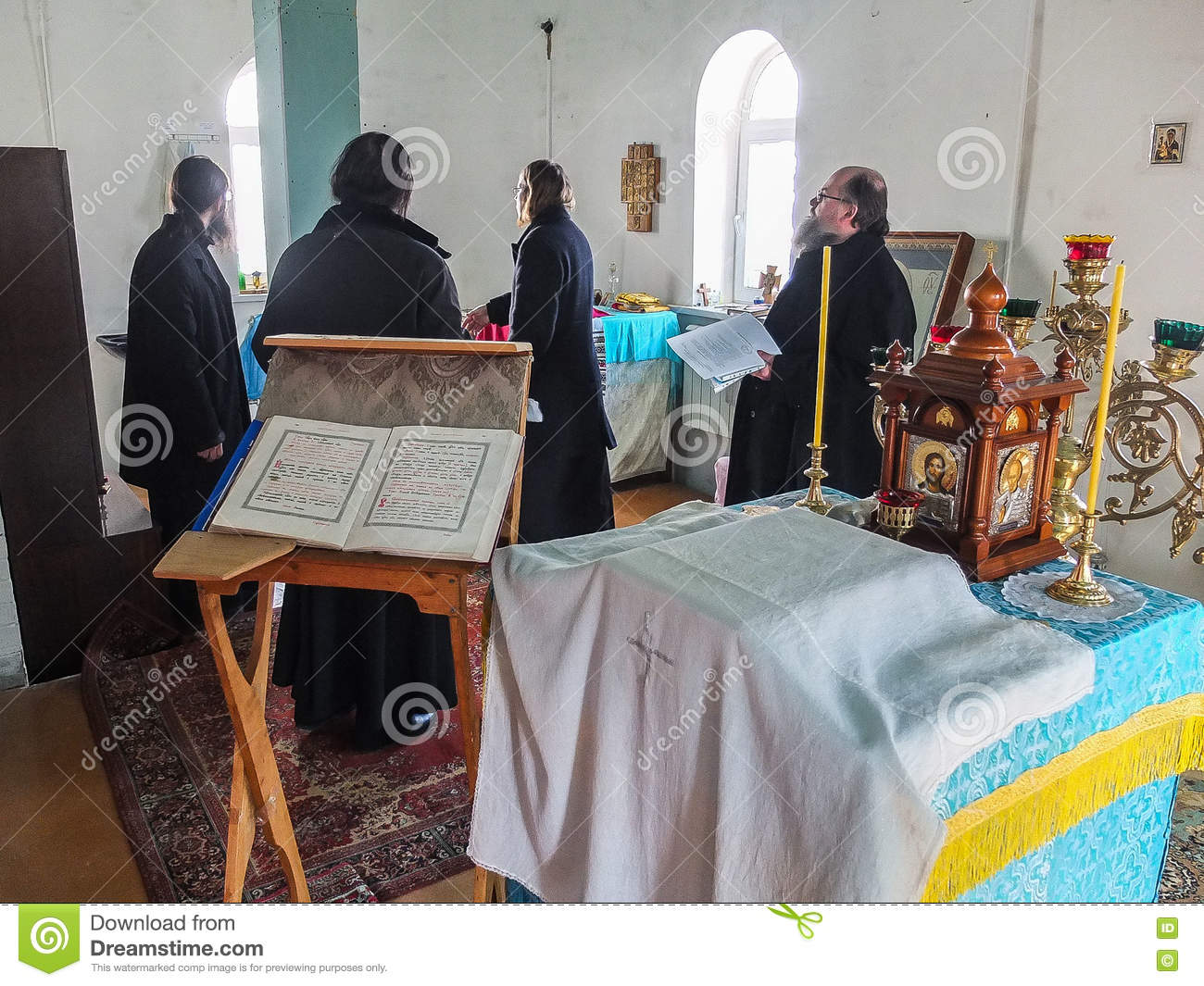 Inspection of the construction of the Church and the Episcopal service in the Kaluga region of Russia.