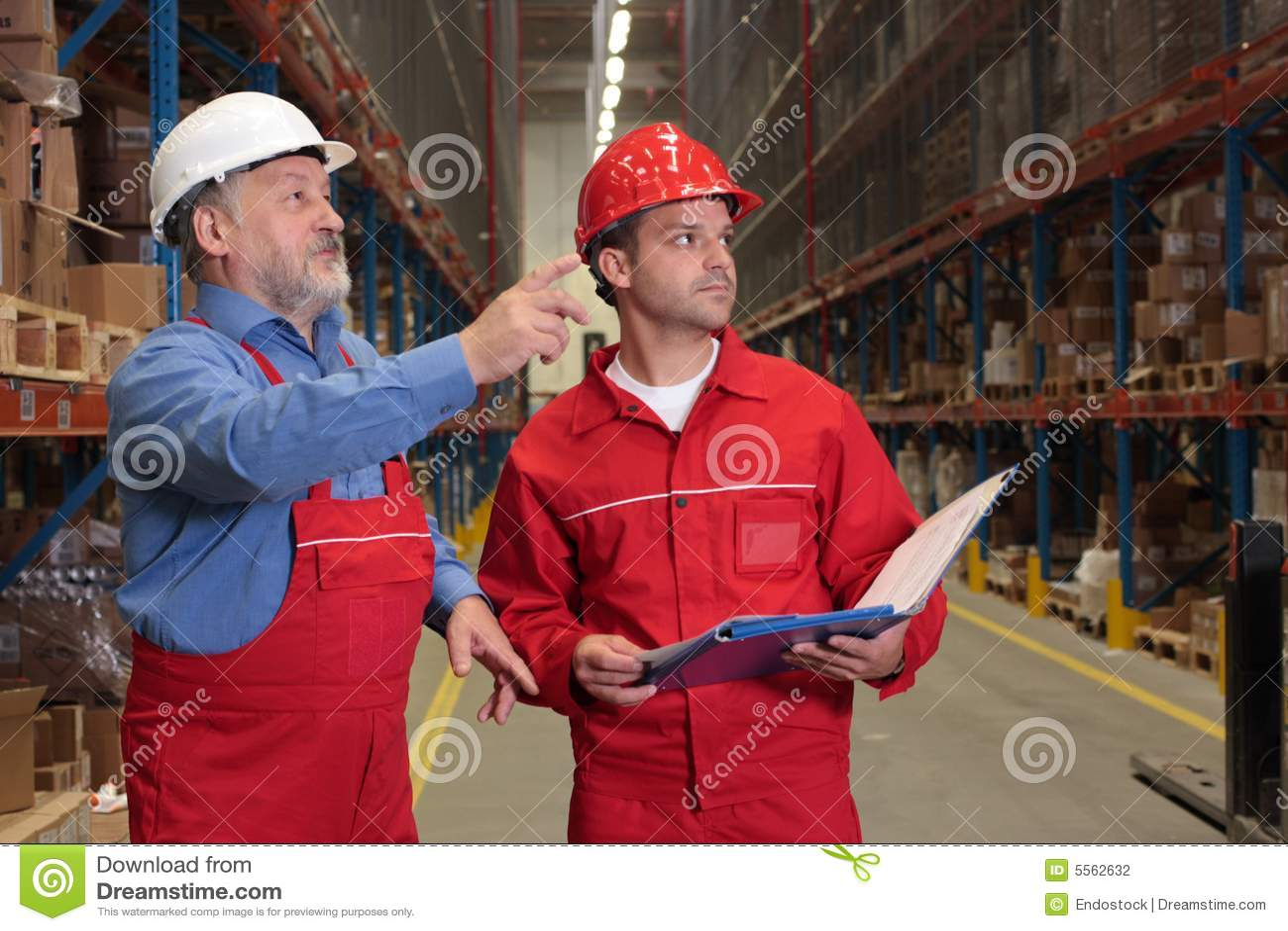 Inspectors in warehouse