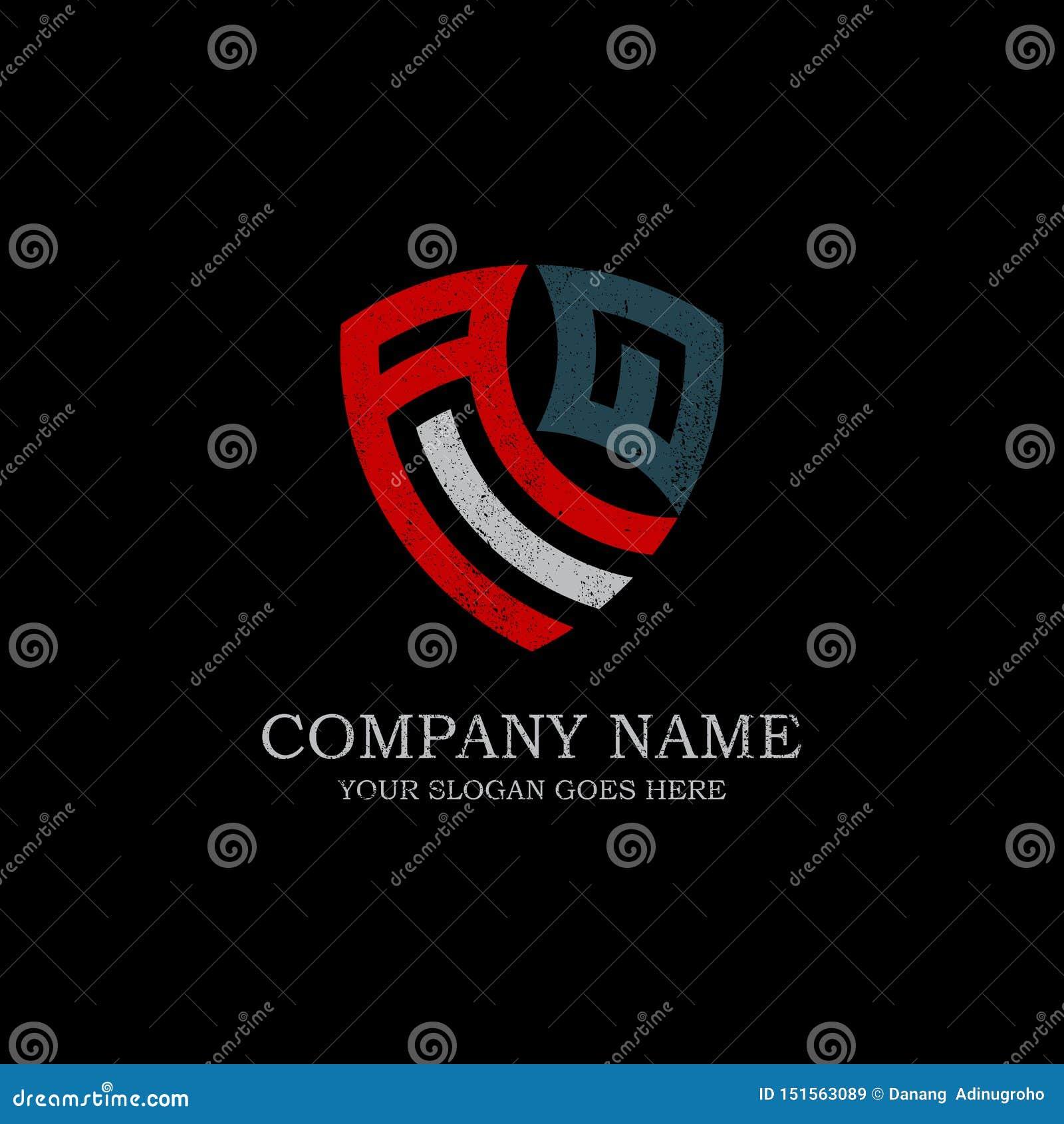Inspiración inicial del logotipo de la letra de AQ, plantilla del diseño del logotipo del escudo del vintage