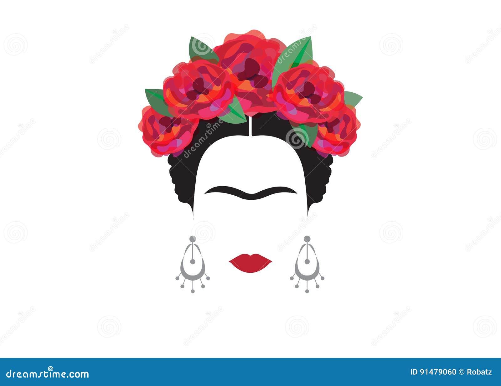 Inspiracja Frida, portret nowożytna Meksykańska kobieta z czaszka kolczykami, ilustracja z tłem przejrzystym
