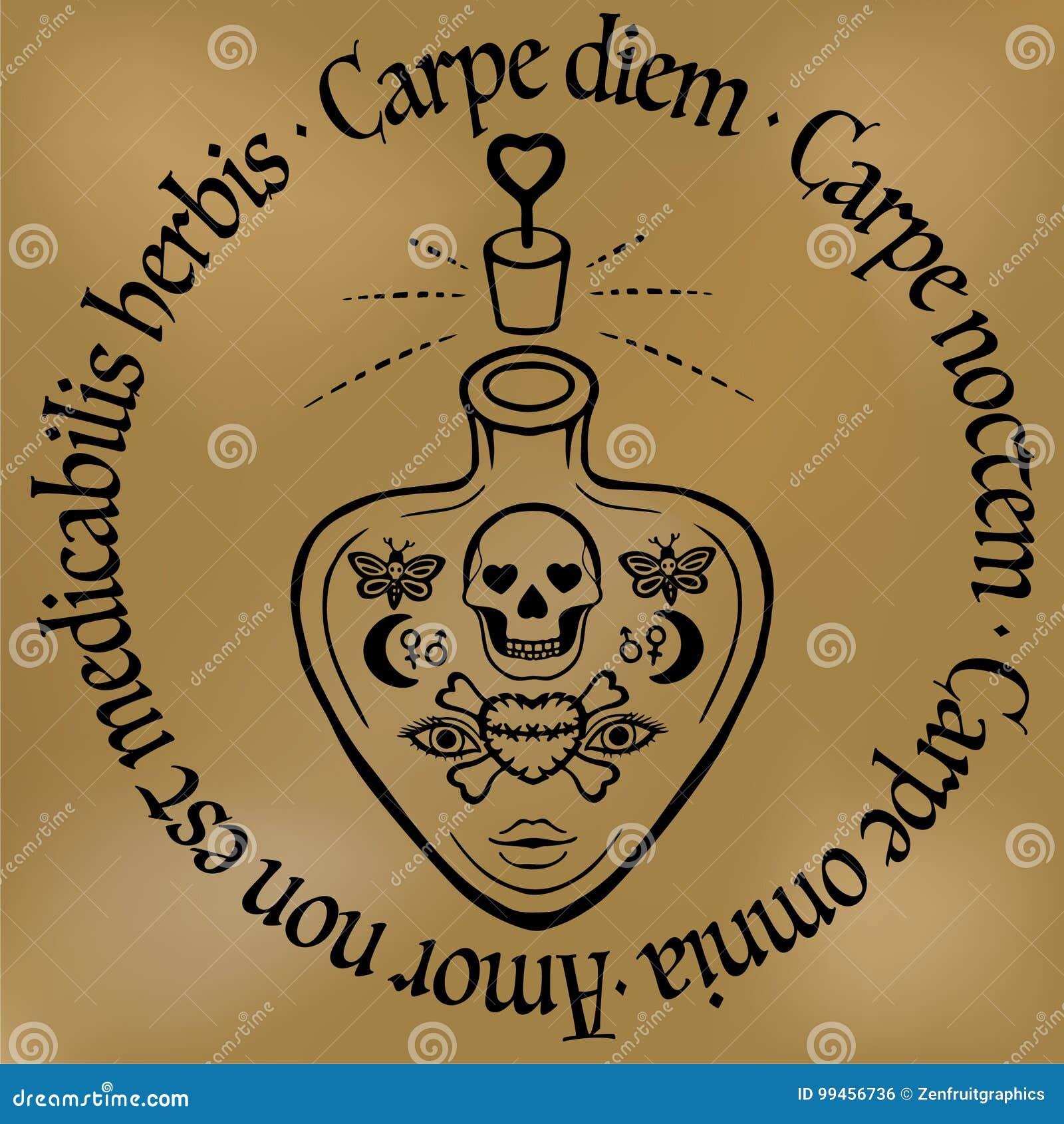 Inspiracyjny Wycena Carpe Diem Konturu Tatuaż Miłości Napój