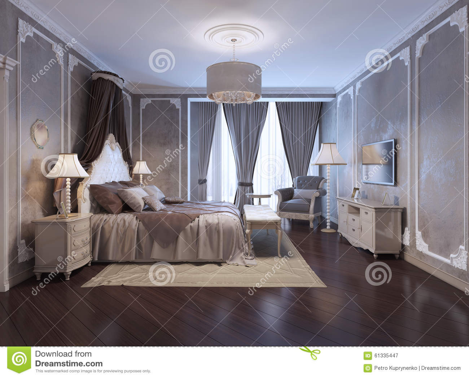Inspiratie Voor De Slaapkamer Van Het Luxehotel Stock Illustratie ...