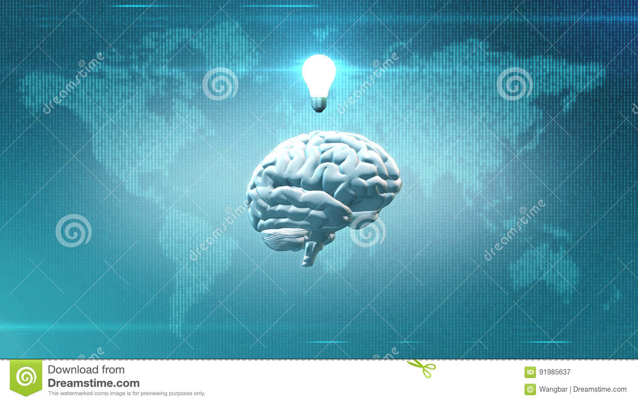 Inspiration concept - Brain in front of Earth illustration with lightbulb