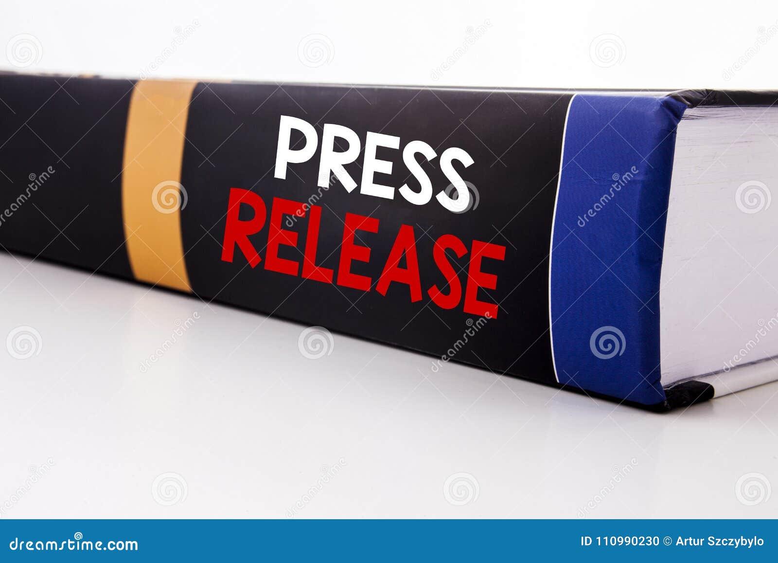 Inspiration conceptuelle de légende des textes d écriture de main montrant le communiqué de presse Concept d affaires pour le wri