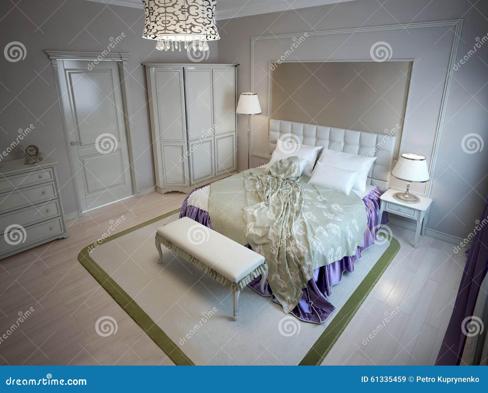 Inspiration för sovrum för lyxigt hotell stock illustrationer ...