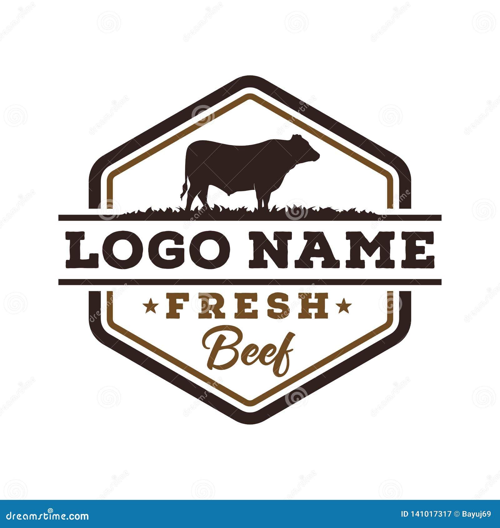 Inspiration fraîche de conception de logo de cru de boeuf