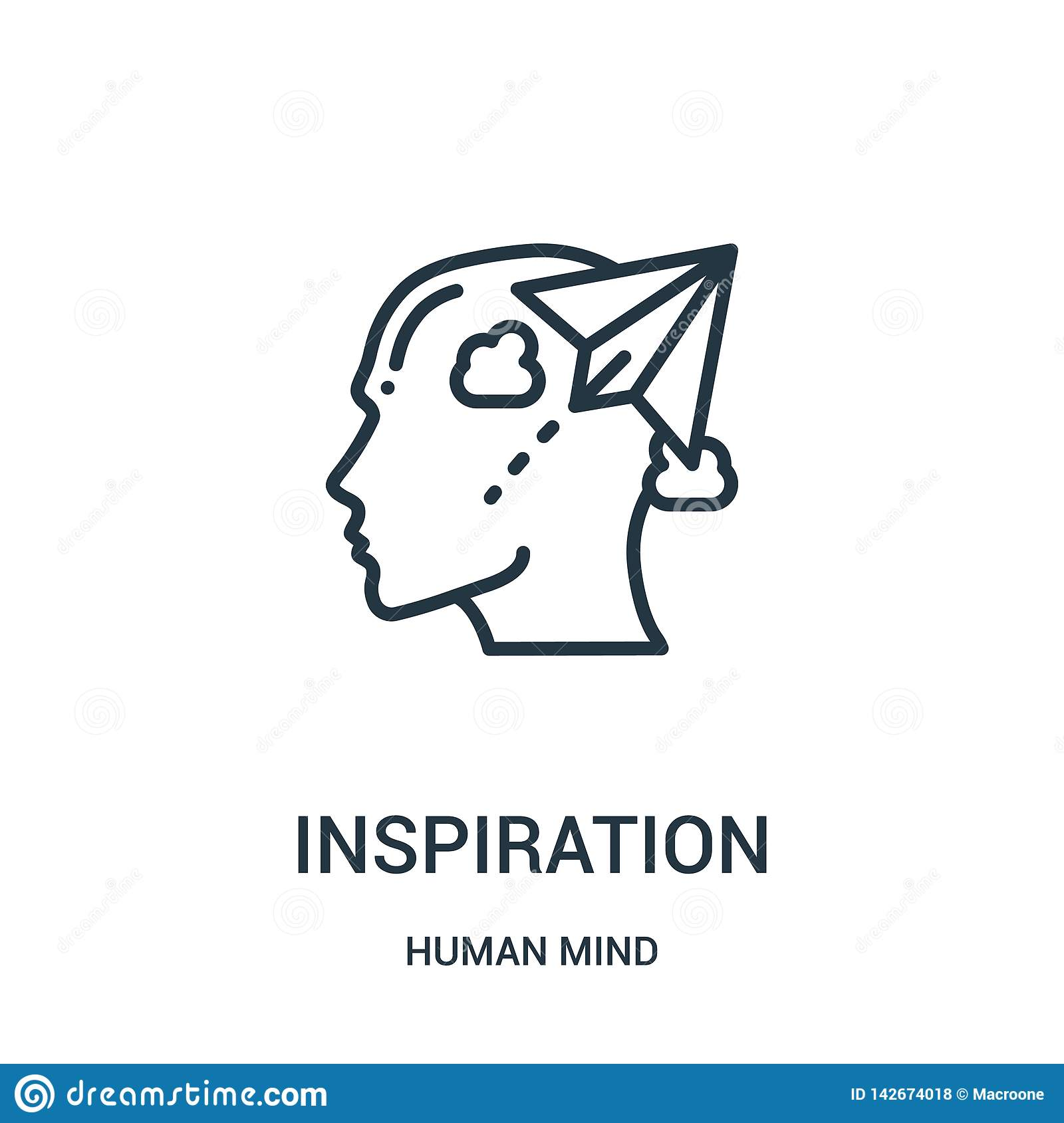 inspiration icon vector from human mind collection. Thin line inspiration outline icon vector illustration. Linear symbol for use