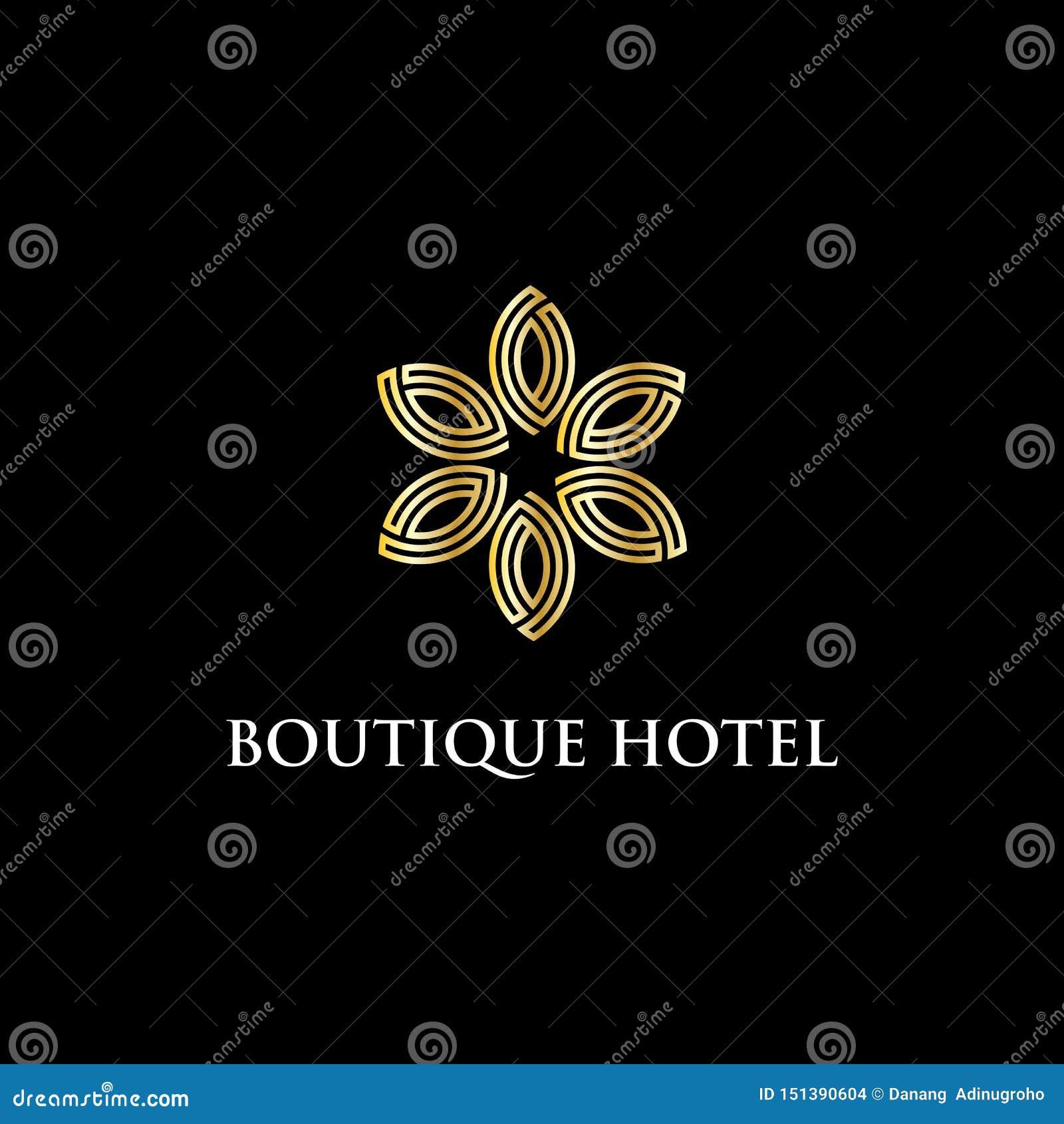 Inspiration moderne de conception de logo d hôtel de boutique, luxe et illustration intelligente de vecteur