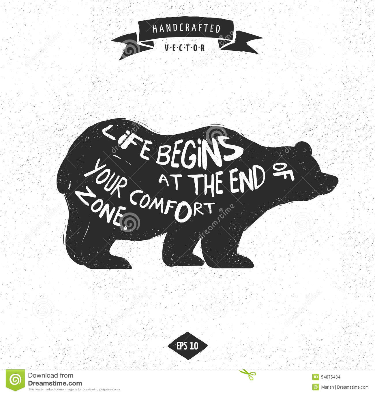 Inspiration Quote Hipster Design Label Bear Stock Vector