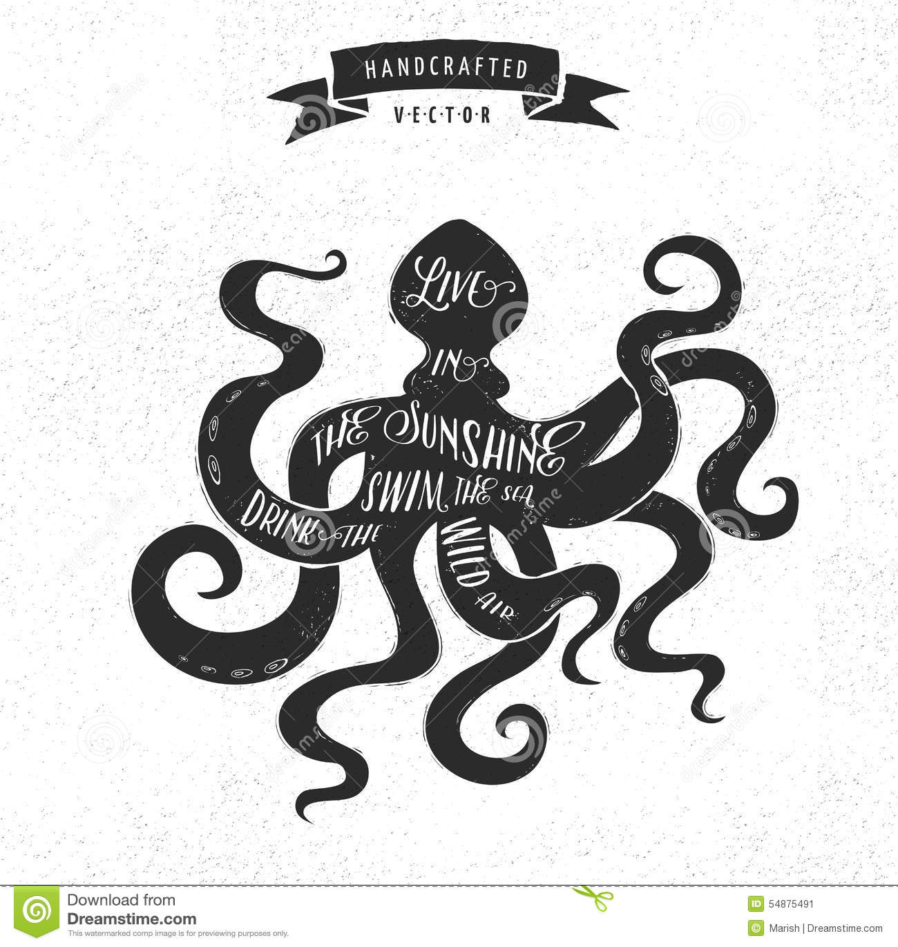 inspiration quote vintage design label octopus stock
