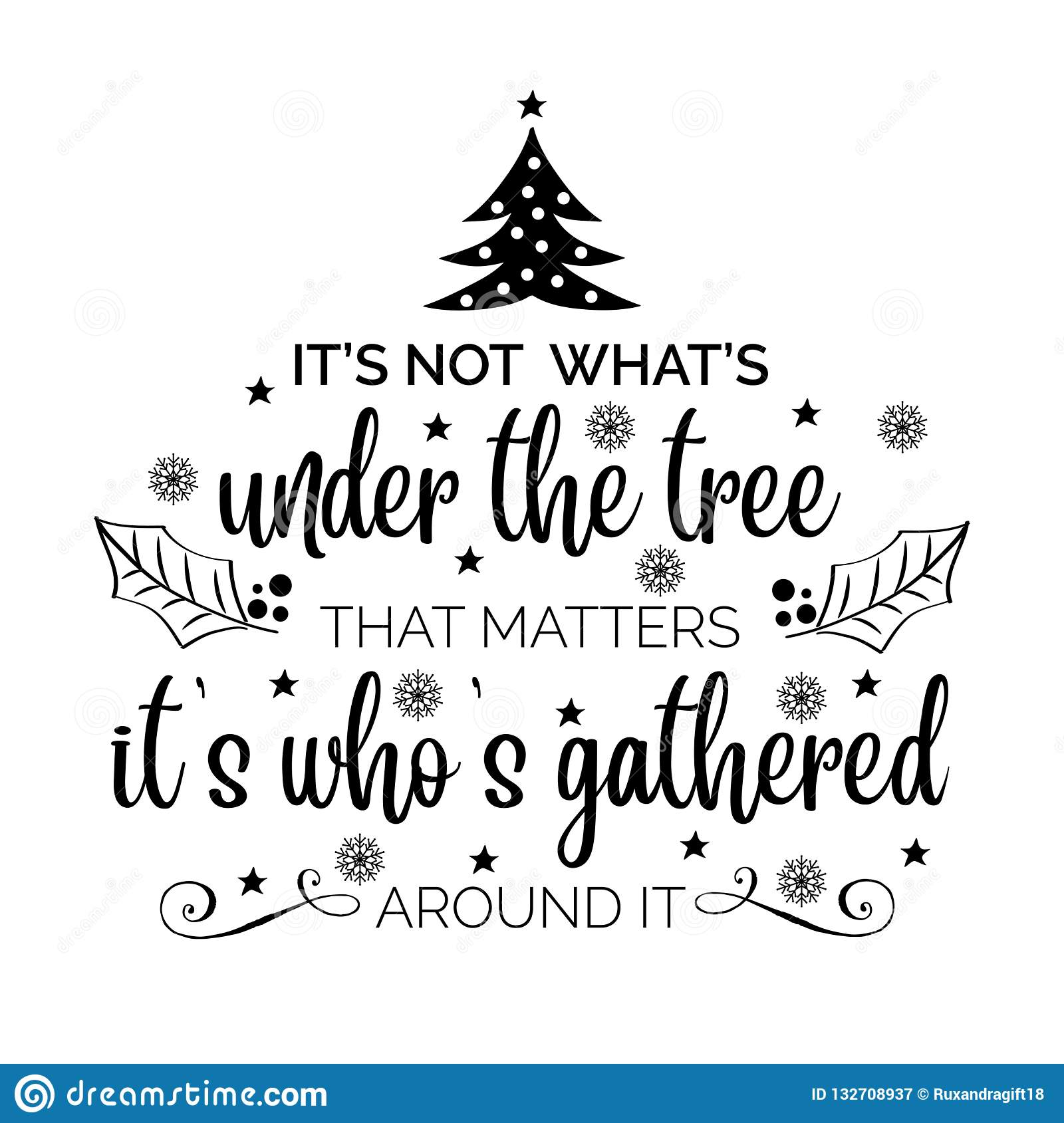 Christmas Sayings For Cards.Inspirational Christmas Quote Stock Vector Illustration Of