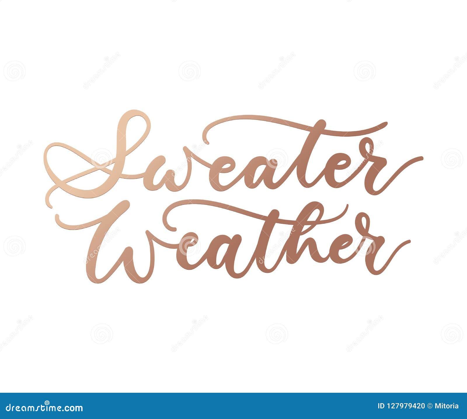 Inspirational de herfstaffiche van het sweaterweer met het van letters voorzien en krabbels Vector illustratie