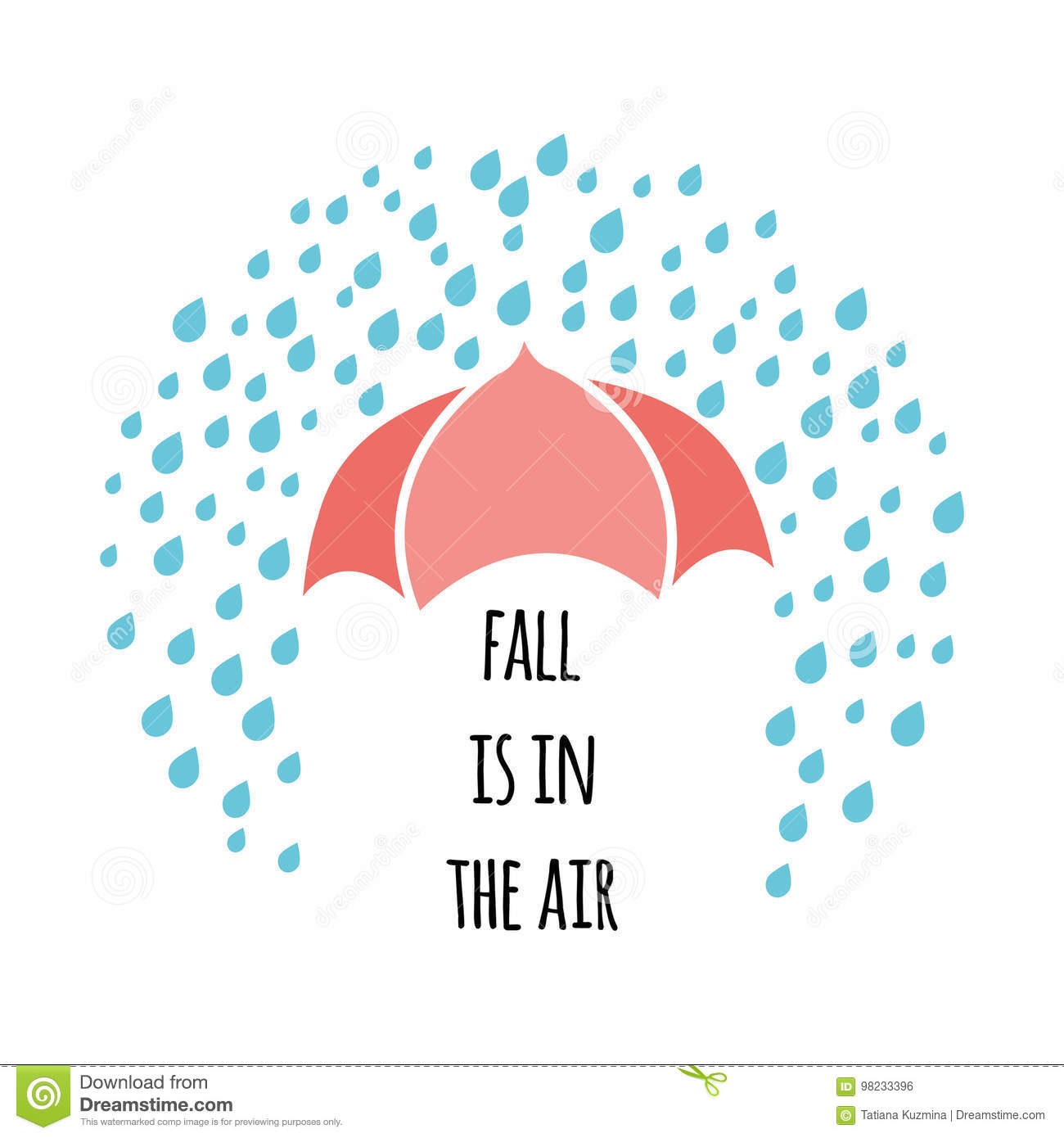 Inspirational Fall Quote Decorated Rainy Drops And Red