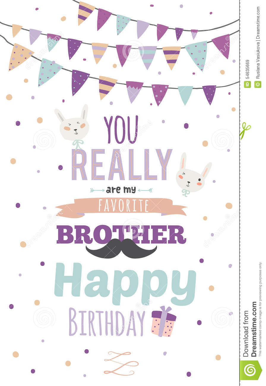 inspirational happy birthday poster for brother stock vector