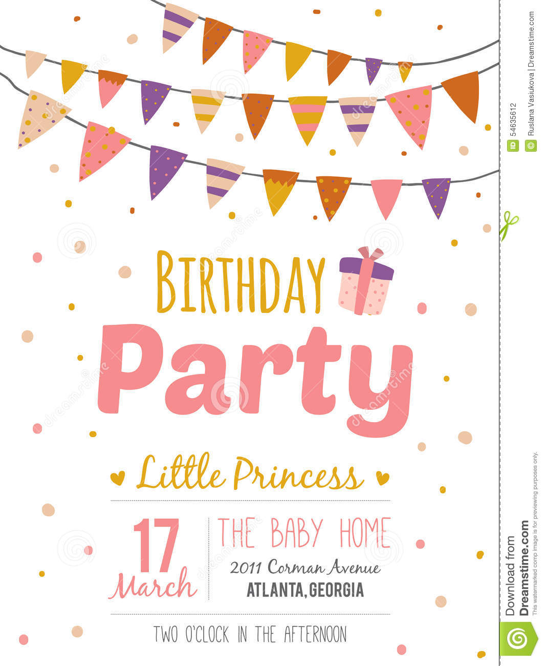inspirational happy birthday poster for girl stock vector