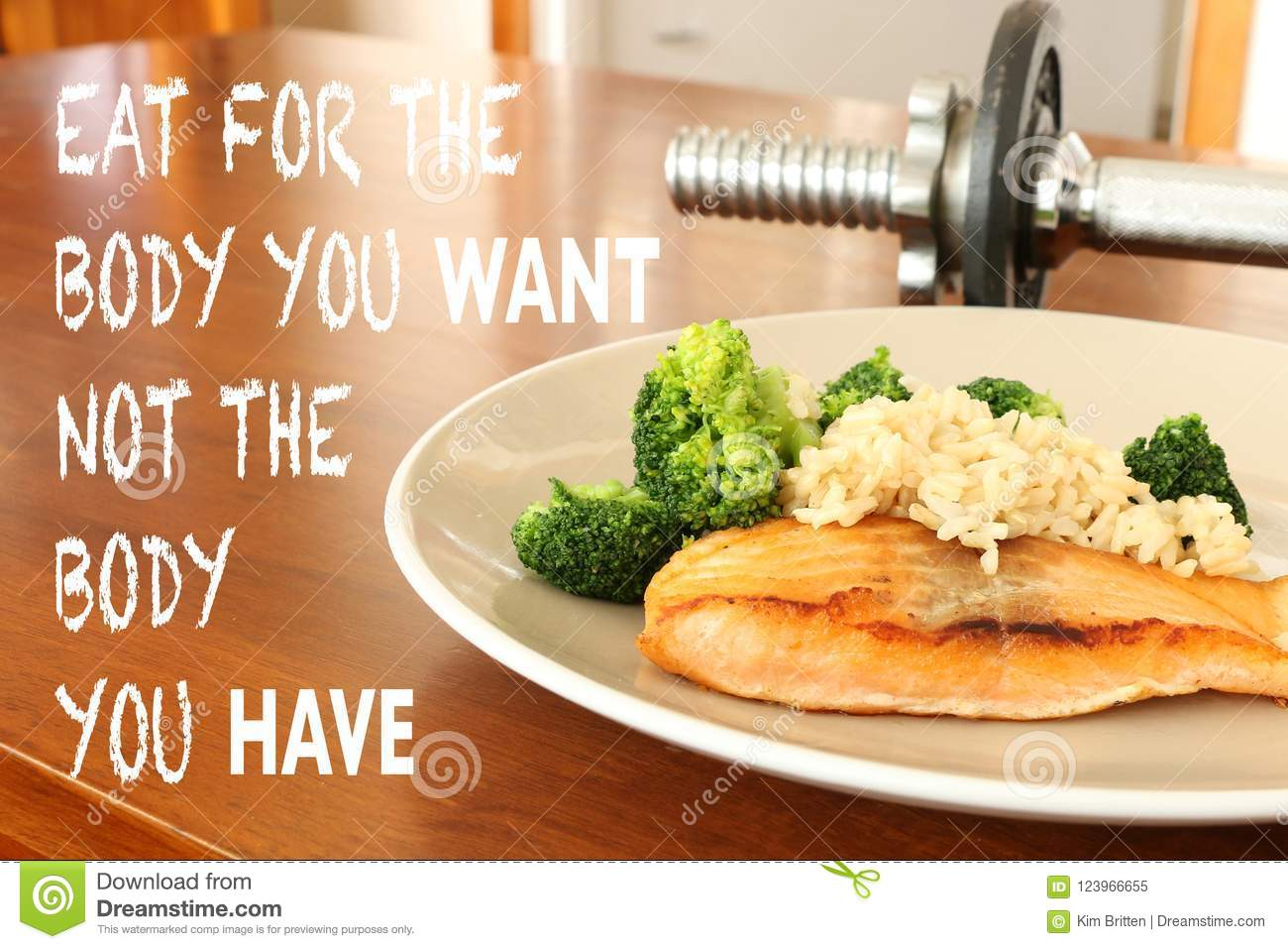 Inspirational Healthy Eating Quote On Food And Dumbbell Background