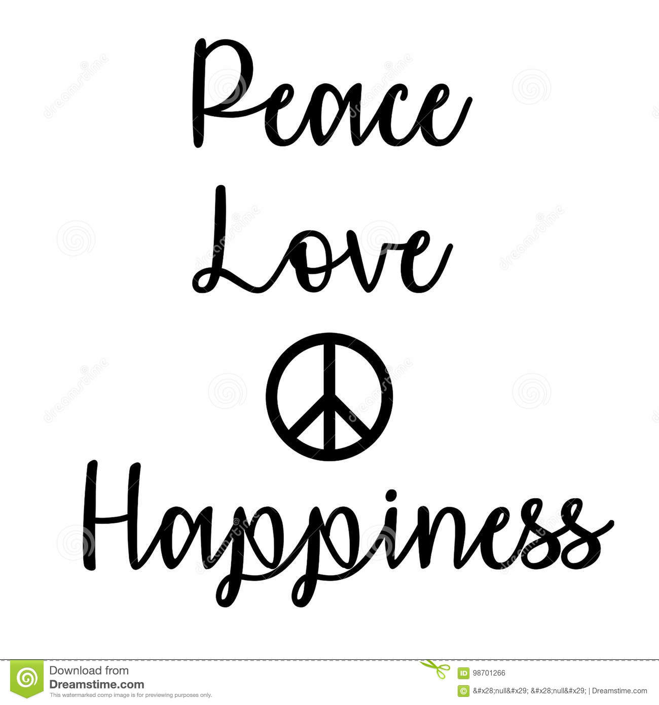 Peace Love And Happiness Quotes Inspirational And Mindful Quote Peace Love And Happiness Stock
