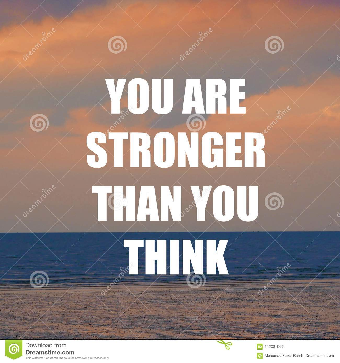Inspirational Motivation Quote You Are Stronger Than You Think On
