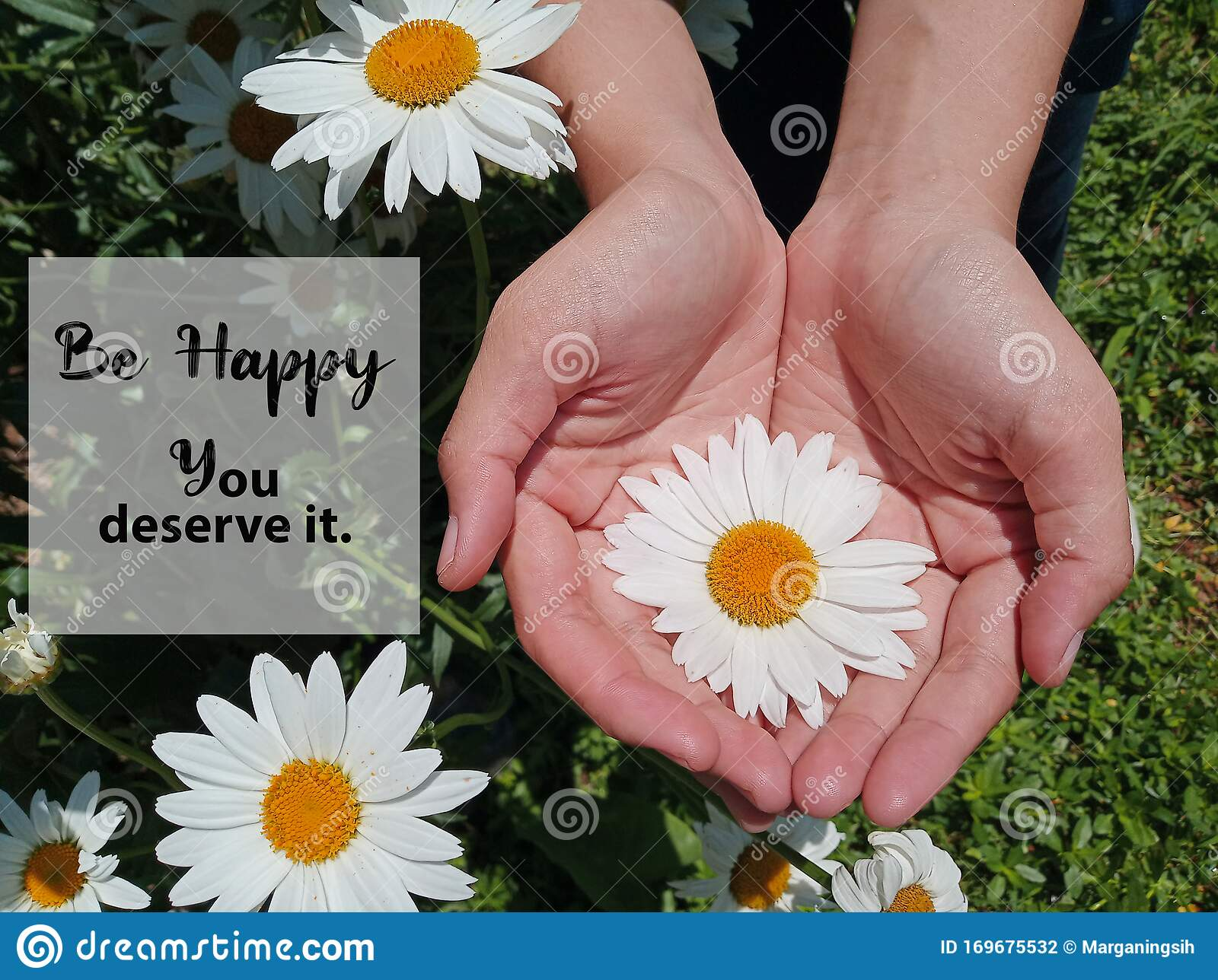 Inspirational Motivational Quote   Be Happy. You Deserve it. with ...