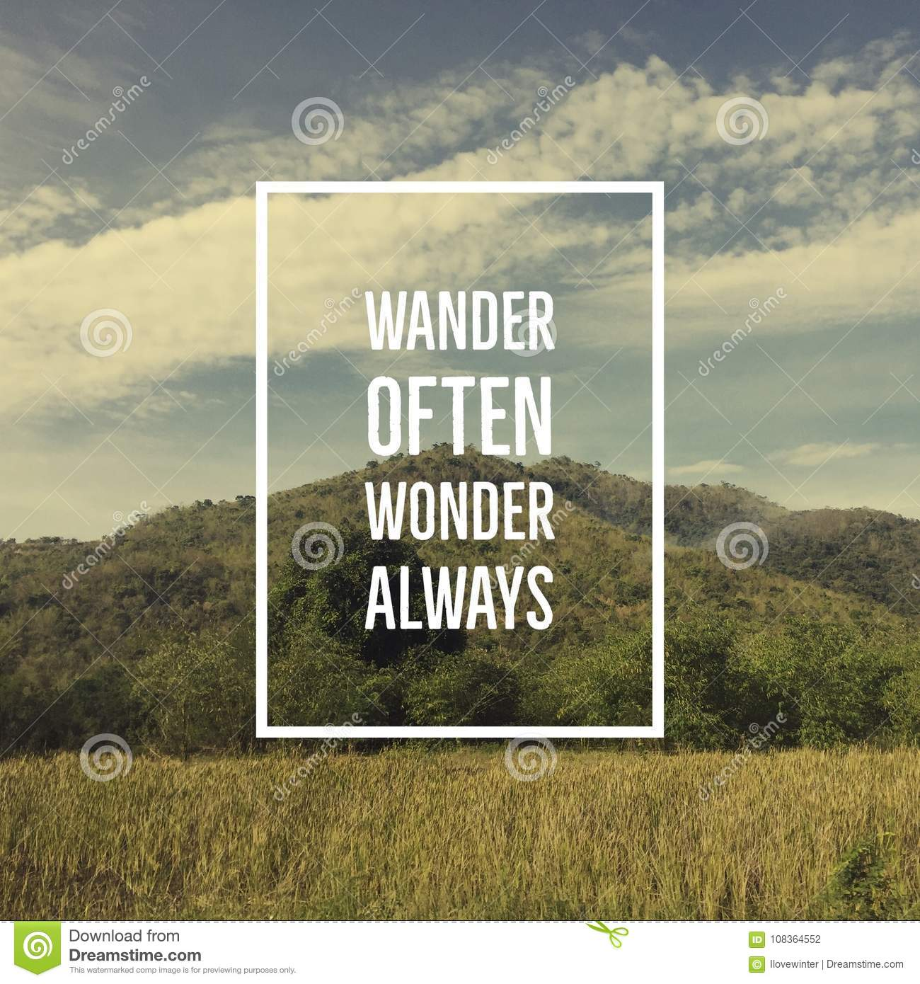 Inspirational Motivational Quote Wander Often Wonder Always Stock