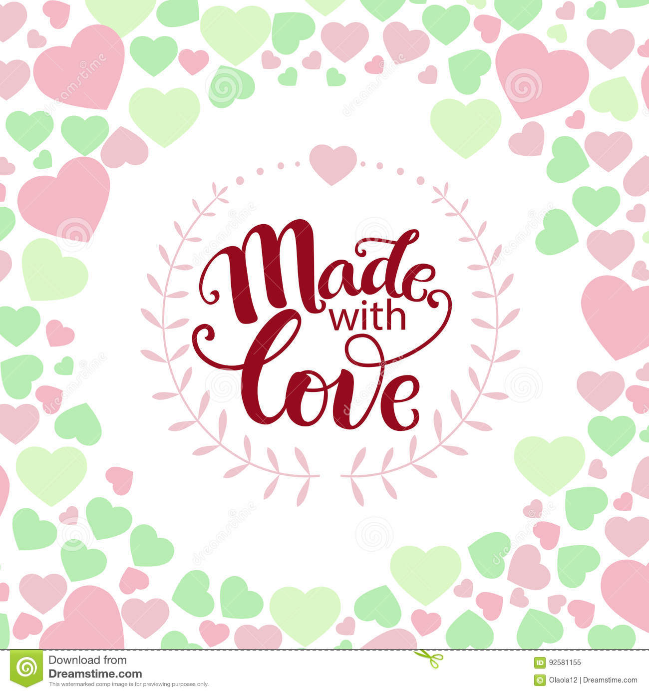 Inspirational Phrase Made With Love Stock Vector