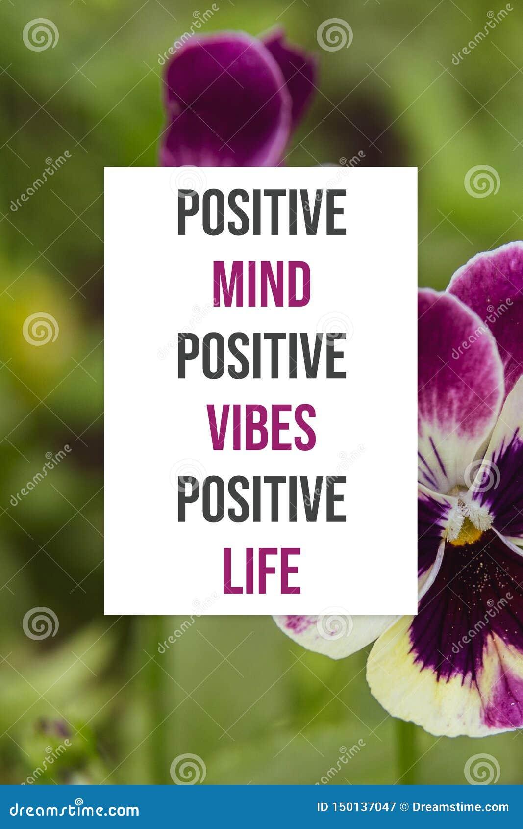 Inspirational poster Positive mind positive vibes positive life