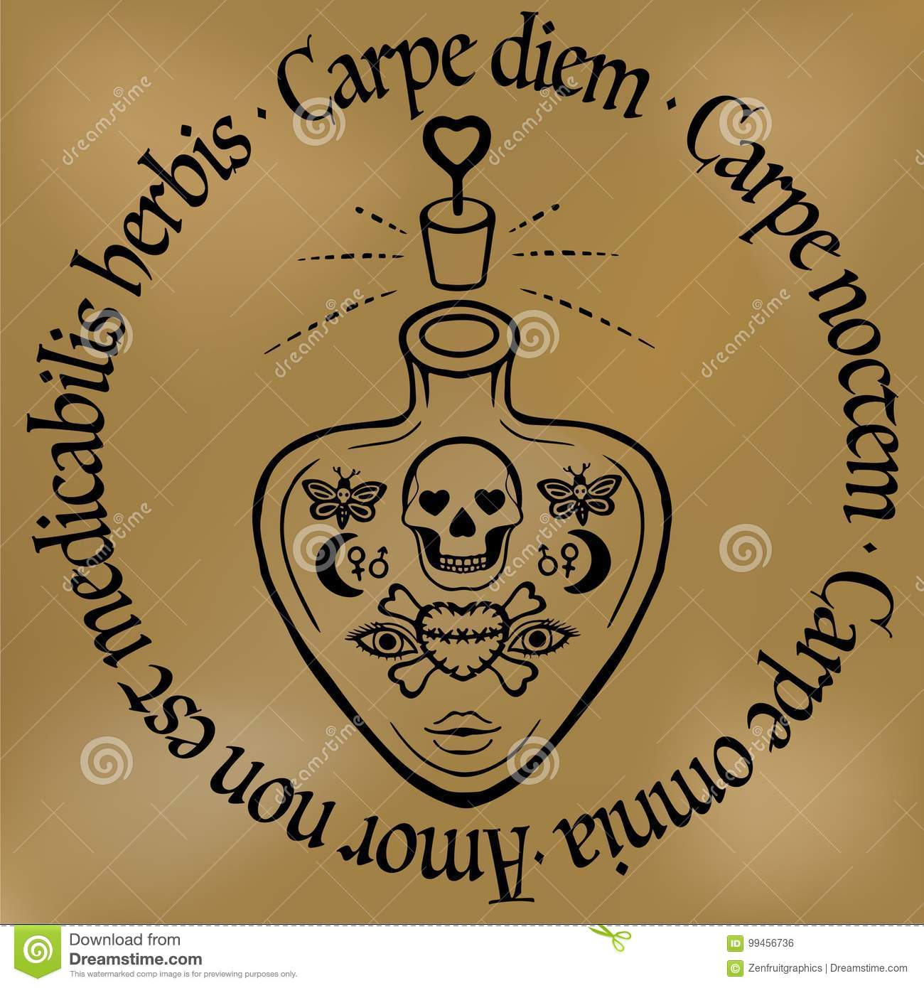 Inspirational Quote Carpe Diem Outline Tattoo Love Potion Or Poison