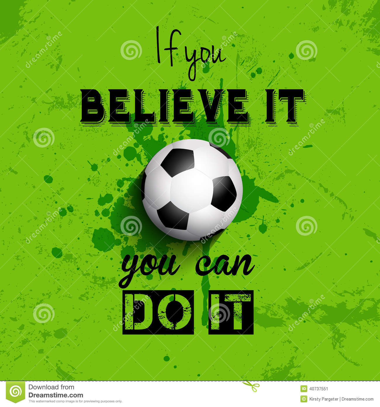 Inspiration Soccer Quotes: Inspirational Quote Football Or Soccer Background Stock
