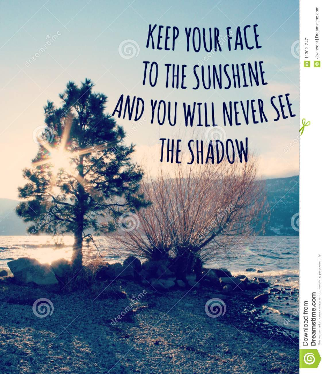 Inspirational Quote On Lake Landscape With Sunshine Through Tree