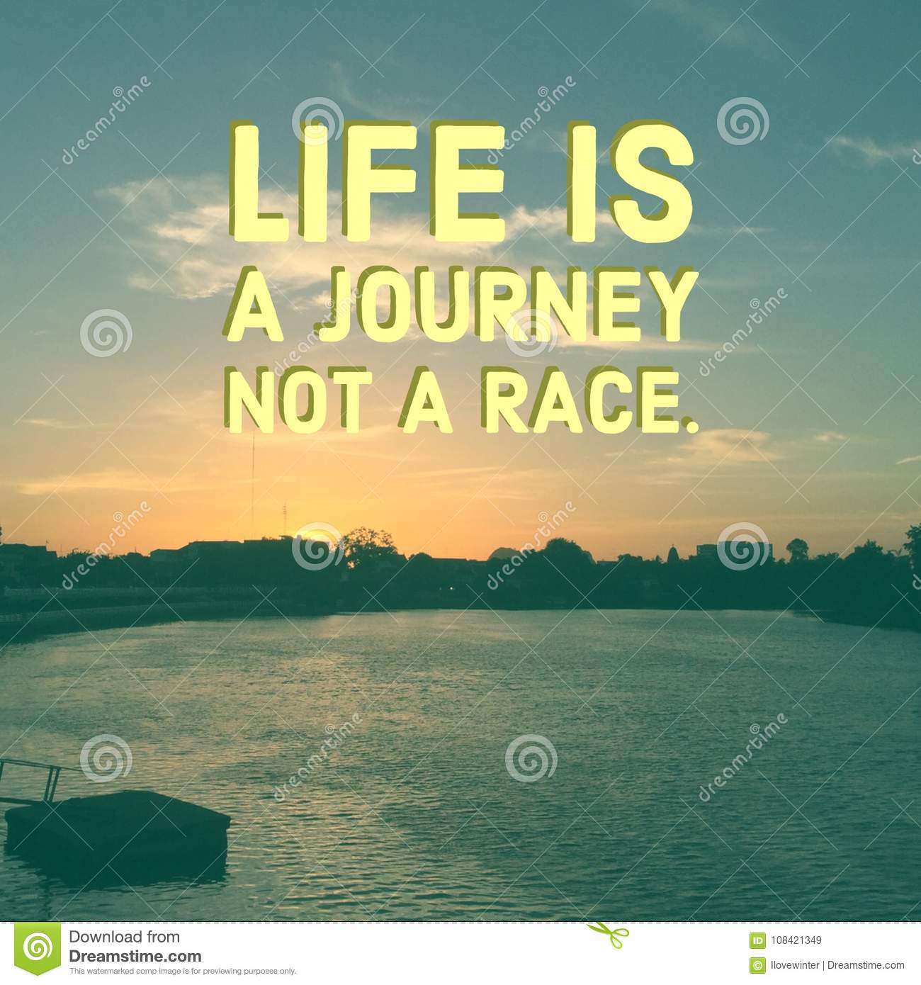 Inspirational Quote Life Is A Journey Not A Race Stock Image