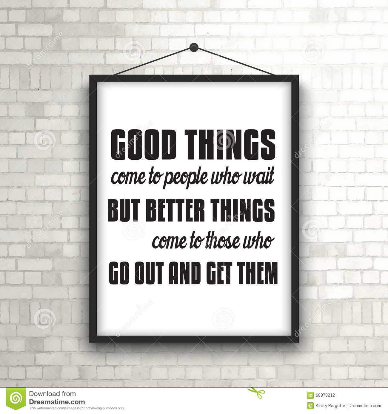 Inspirational quote in picture frame on brick wall stock vector inspirational quote in picture frame on brick wall jeuxipadfo Gallery