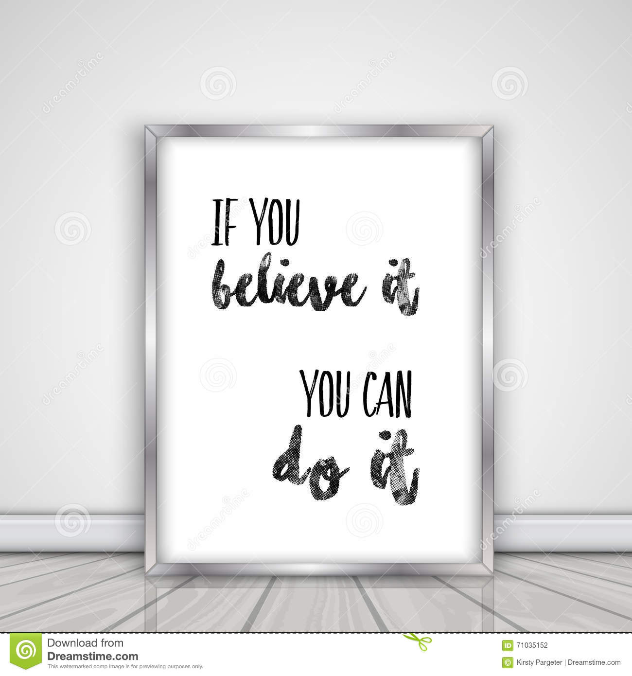 Inspirational Quote In Picture Frame Stock Vector - Illustration of ...