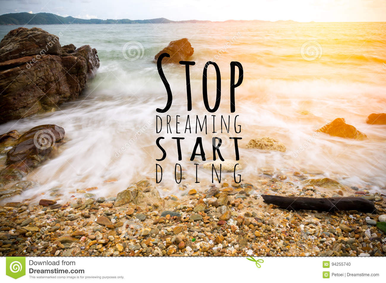 Inspirational Quote By Unknown Source On Beach Stock Photo Image