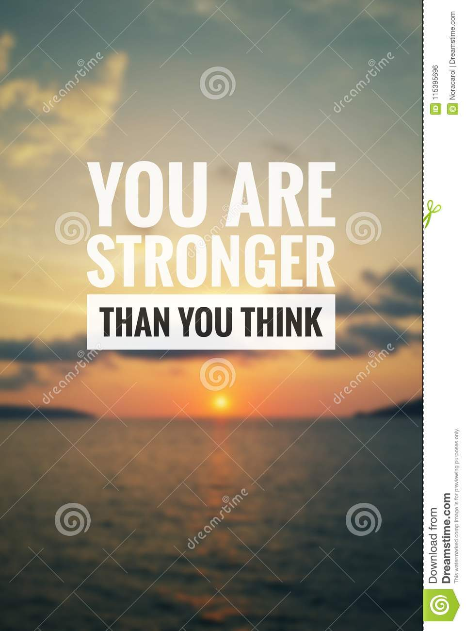 Inspirational Quote You Are Stronger Than You Think Stock Photo