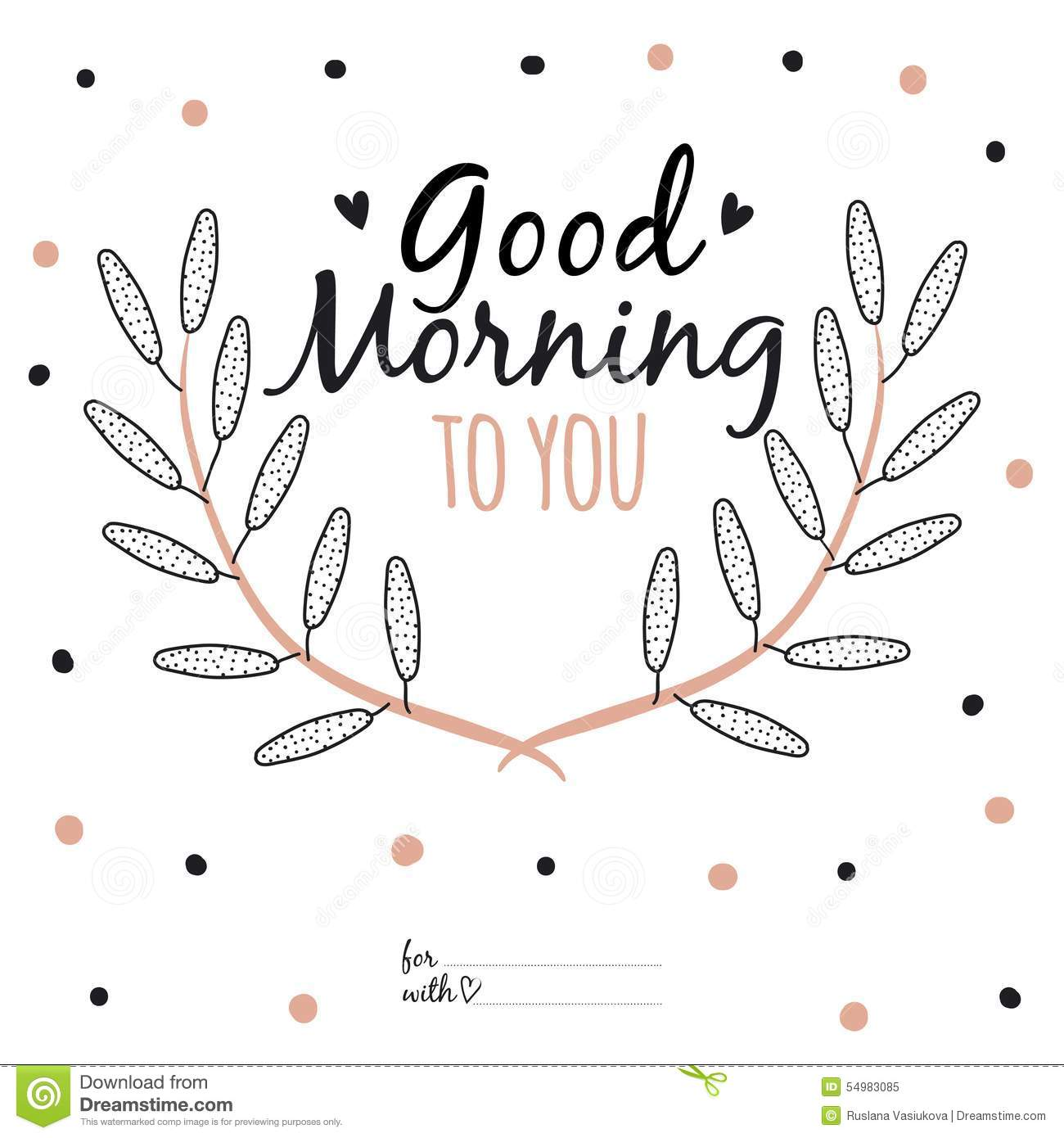 Inspirational Romantic Quote Card Good Morning To Stock Vector