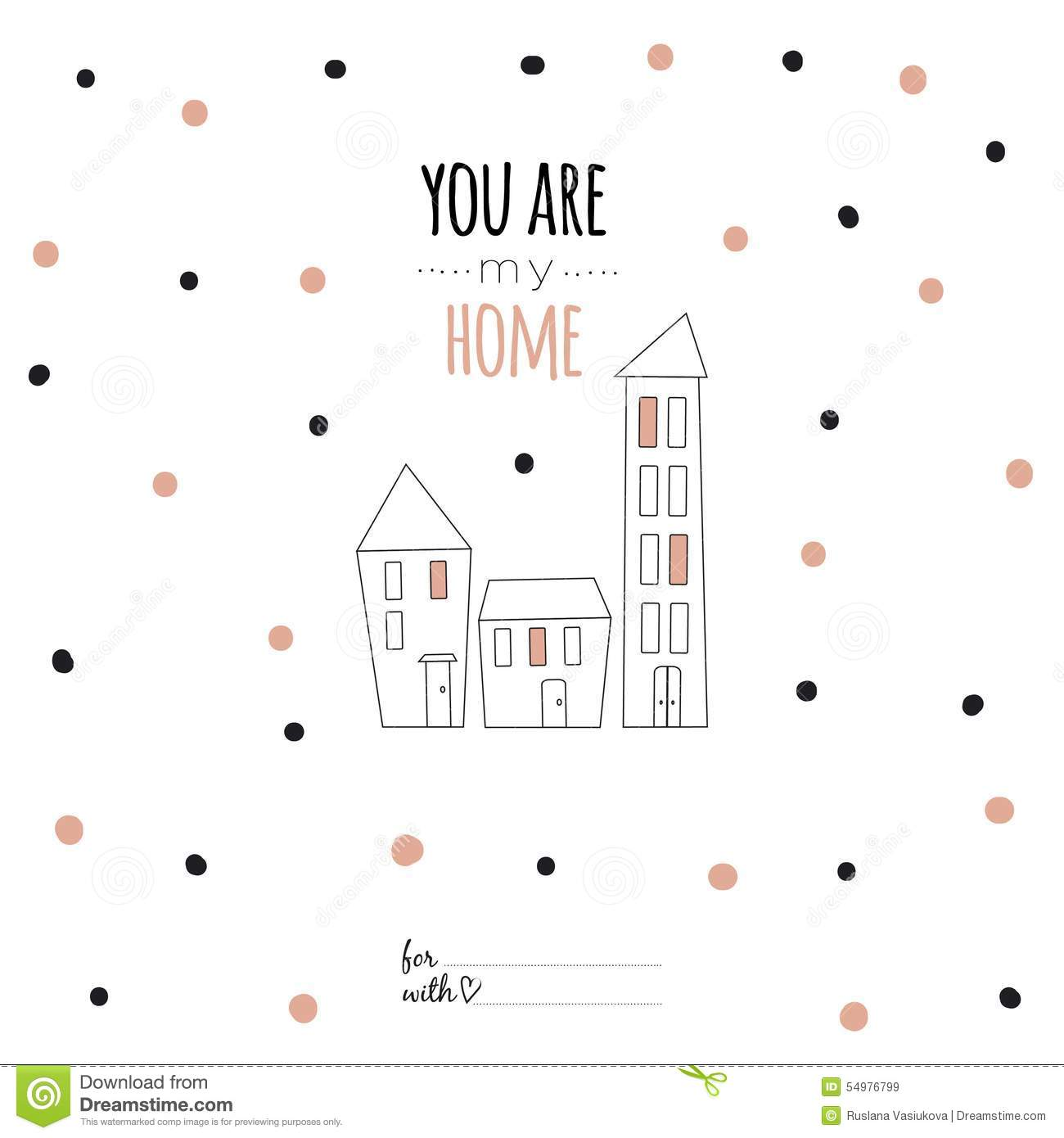 Inspirational Romantic Quote Card You Are My Home Stock Vector
