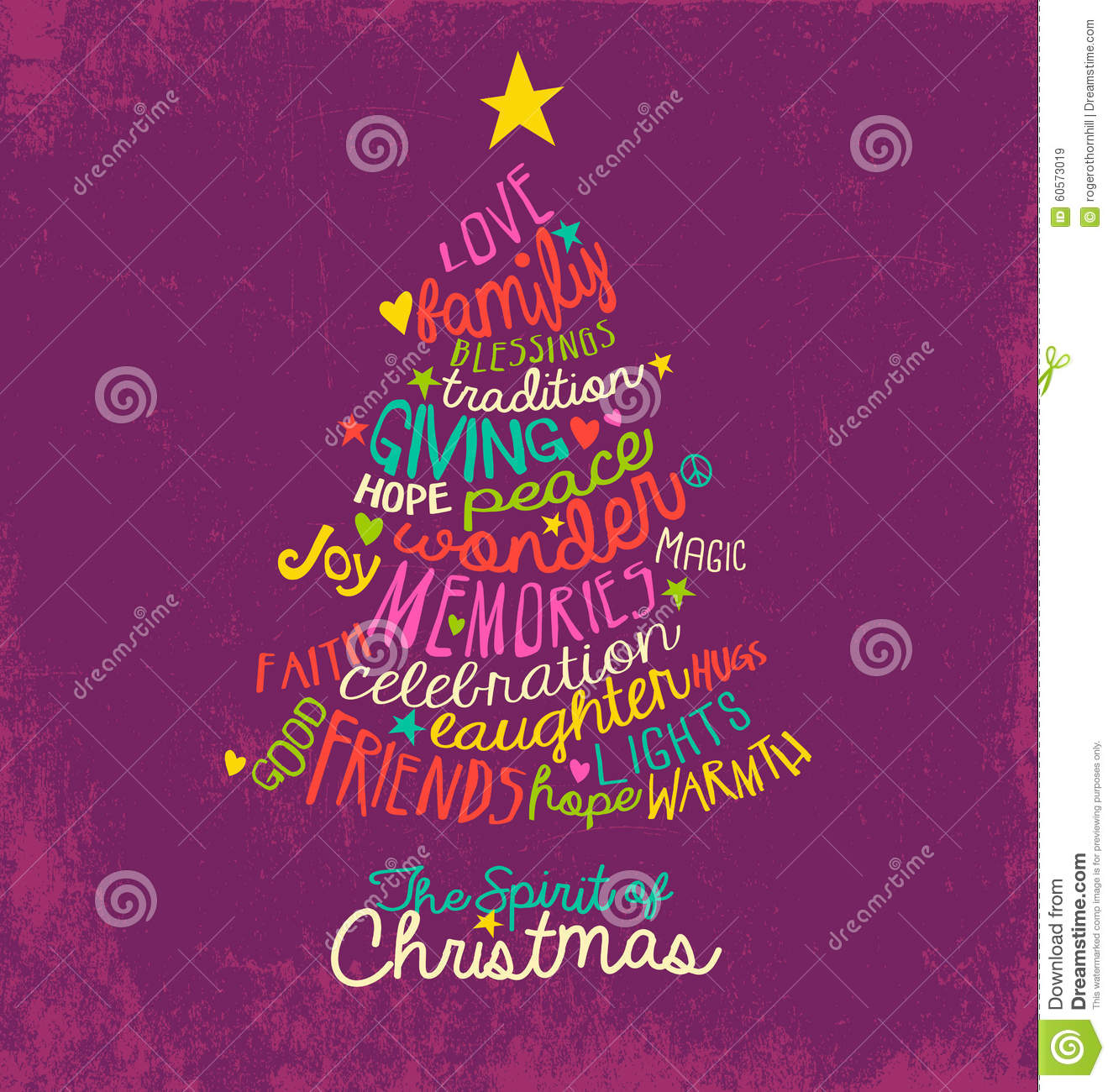 Inspirational Word Cloud Christmas Tree Greeting Card Design Stock