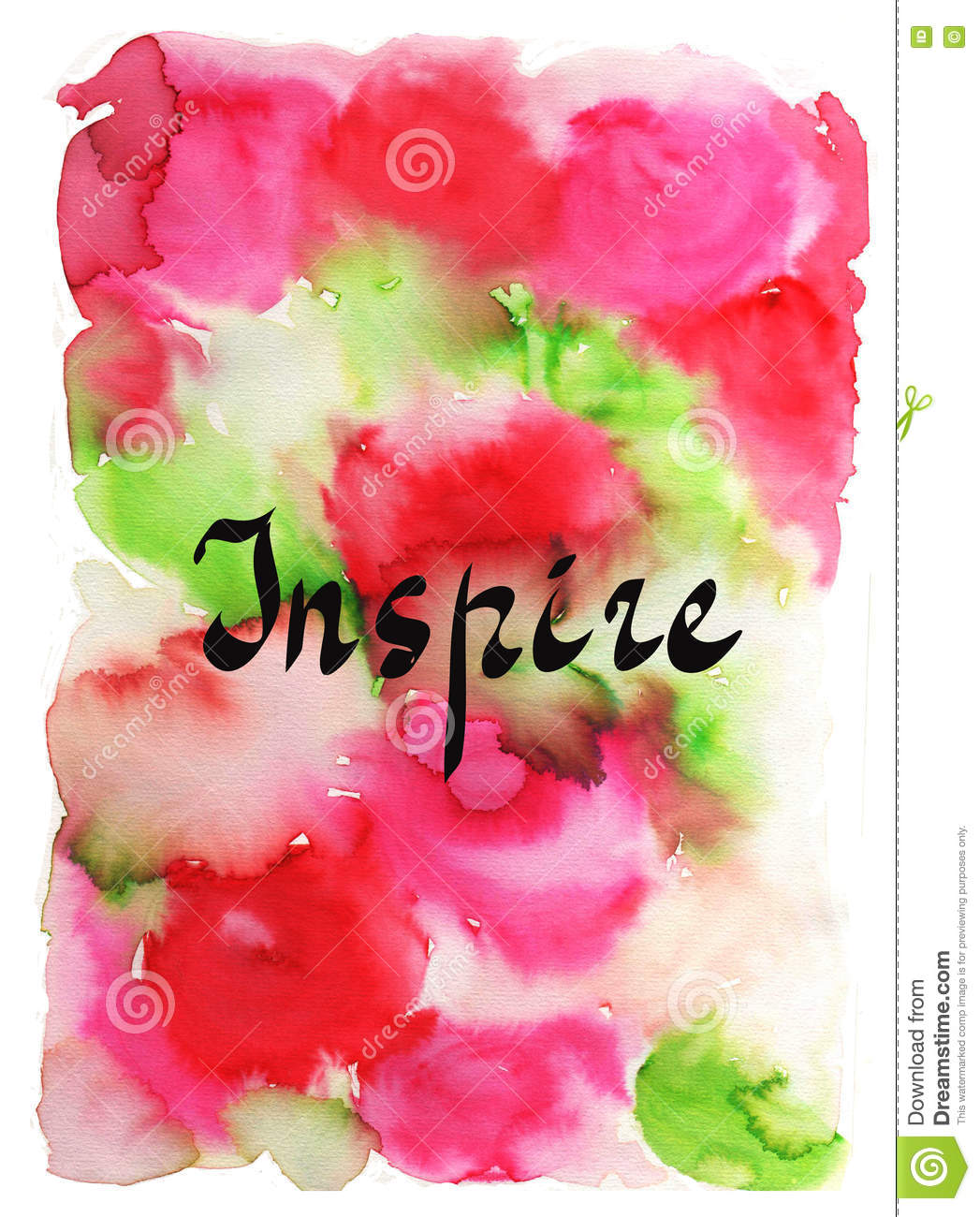 Inspire. Handwritten word on bright colorful watercolor background. Inspirational quote, brush lettering for cards, posters and so