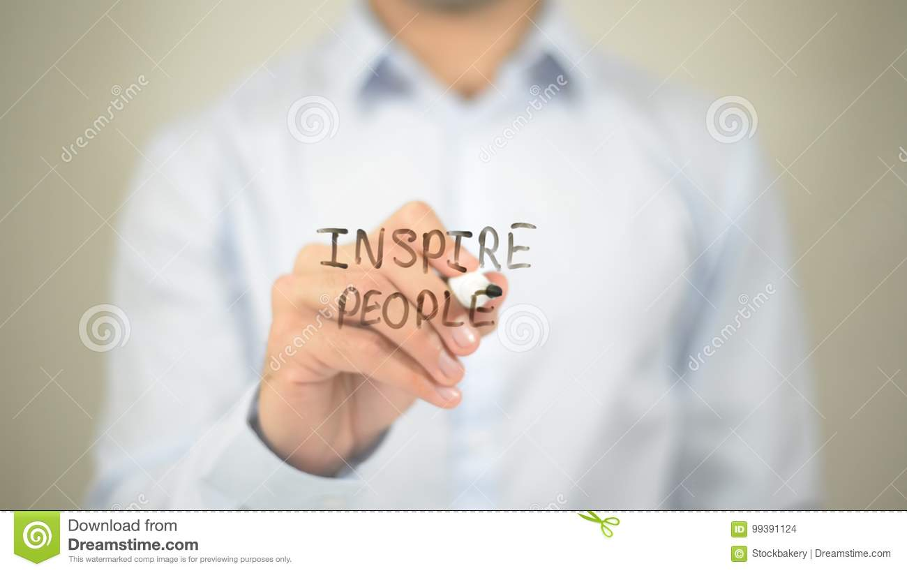 Inspire People , man writing on transparent wall