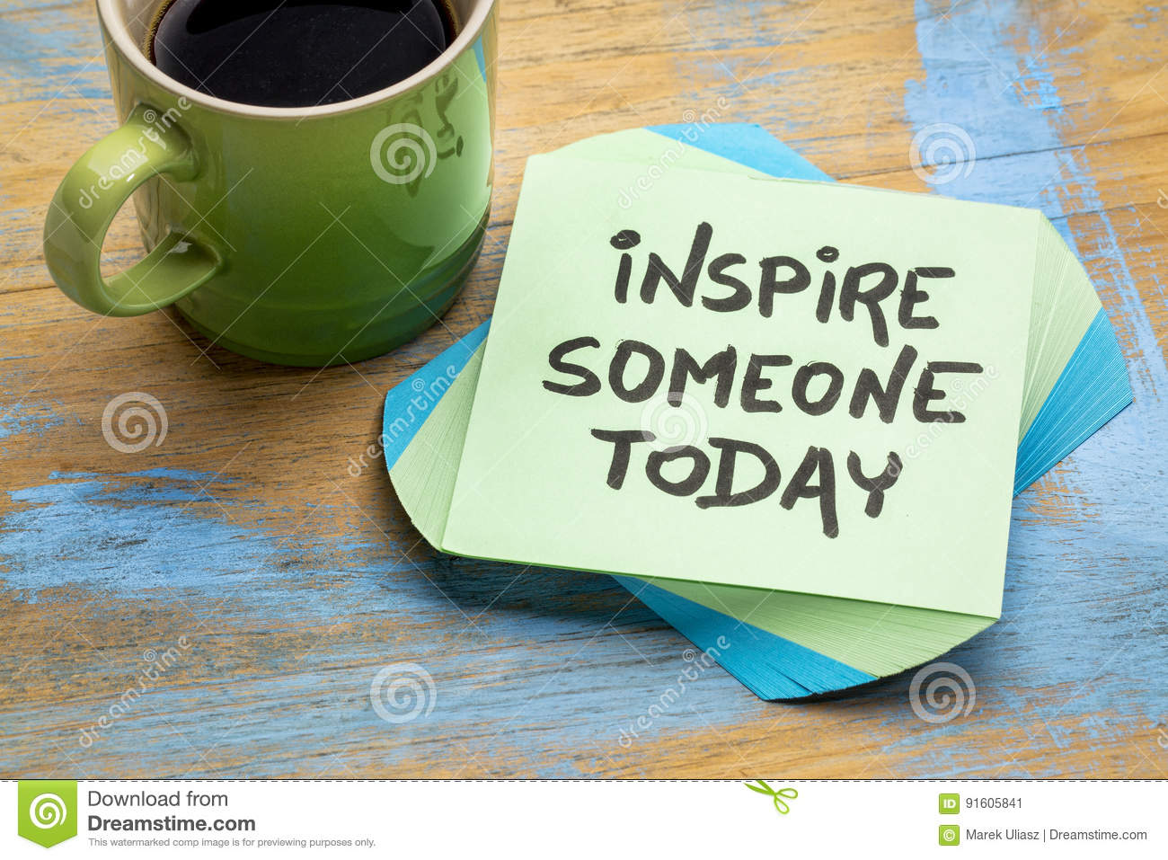 Inspire someone today note with coffee