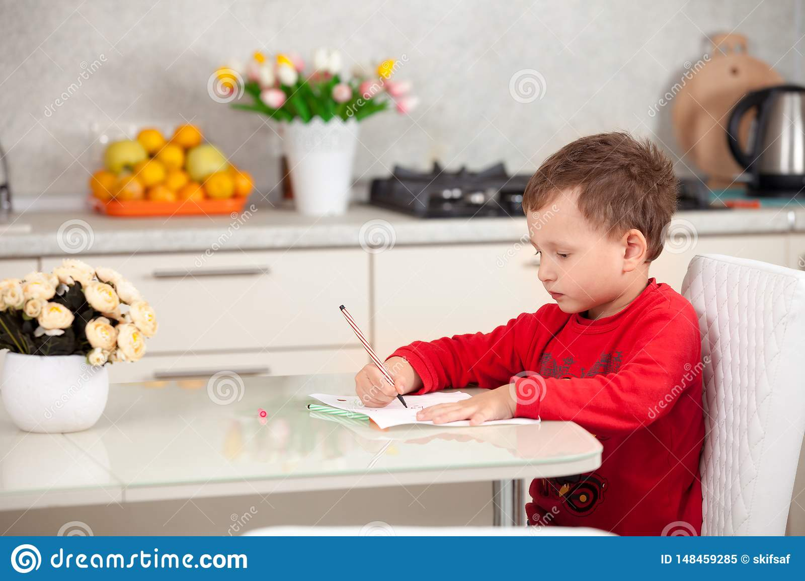Inspired by the boy draws a picture on the paper at the table