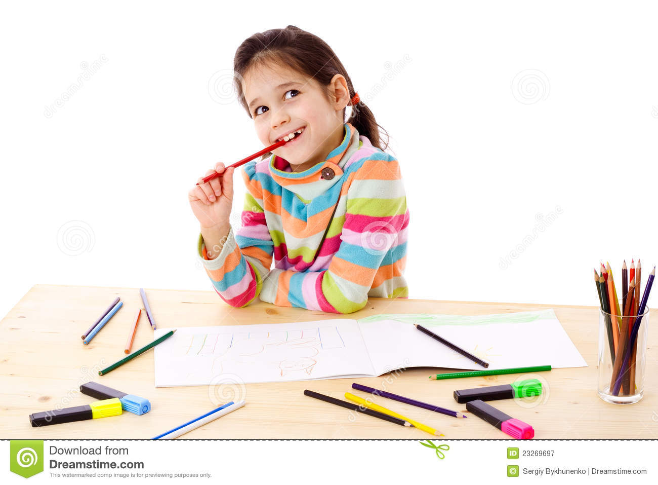 inspired little girl draw with crayons stock image image of