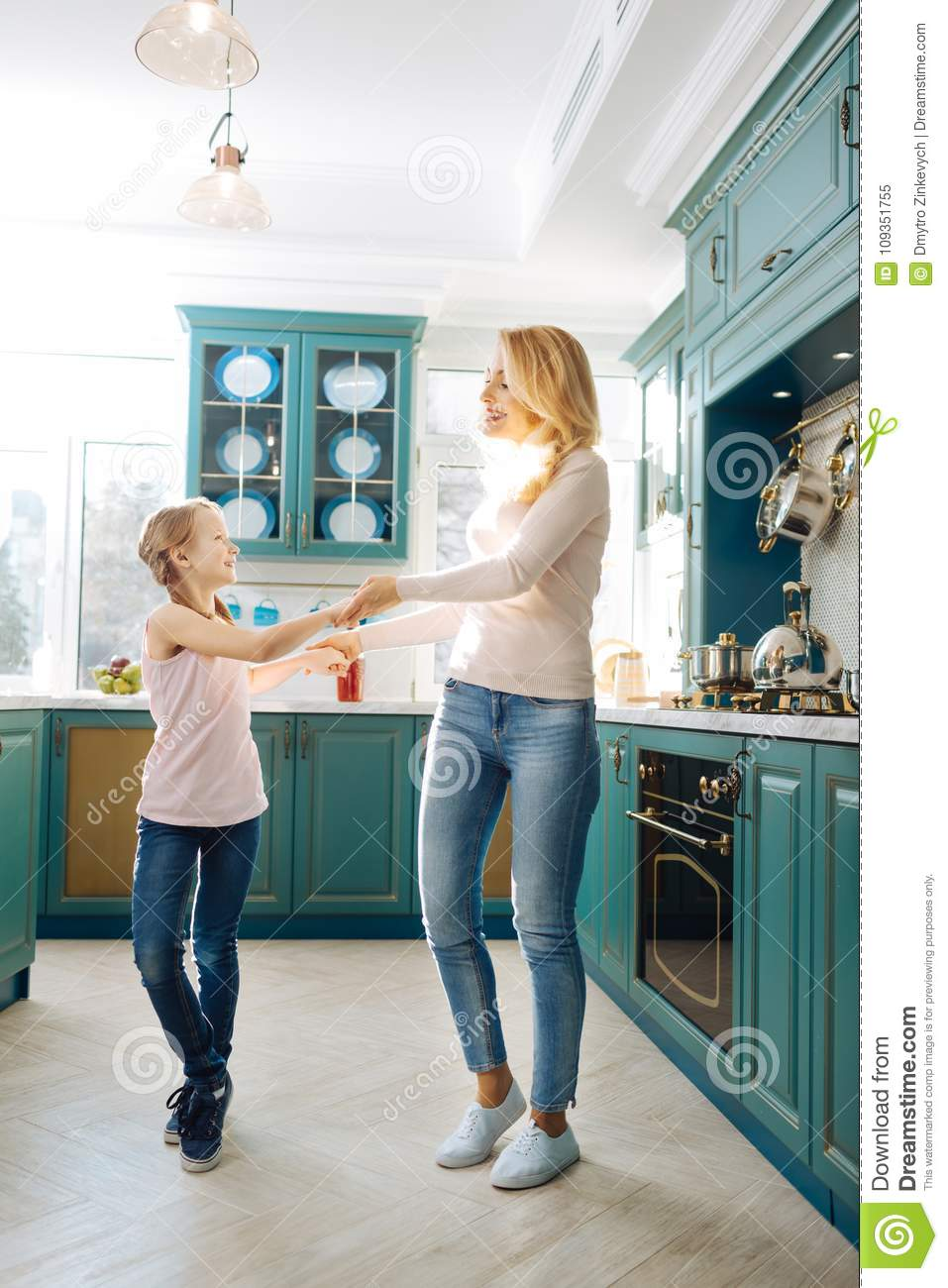 Inspired Mother And Daughter Dancing In The Kitchen Stock Image ...