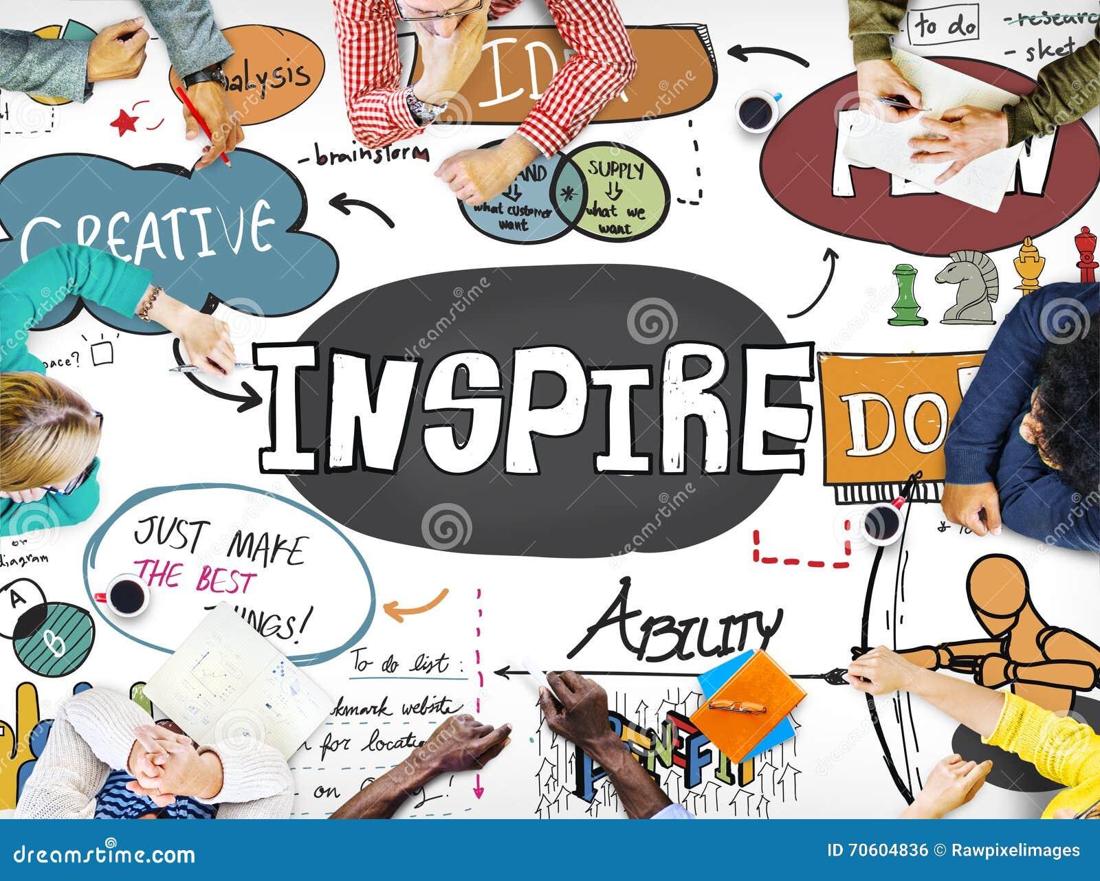 Inspirera idérik inspiration motiverar fantasibegrepp