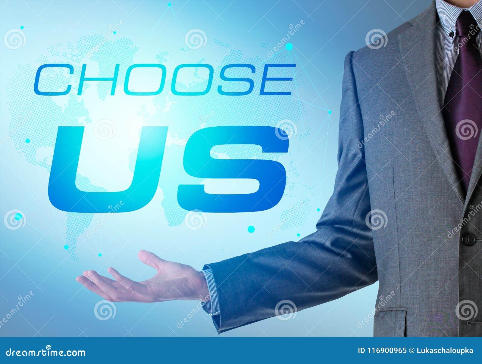 Inspirierend Motivierungsfirmenzitat mit Geschäftsmann choose