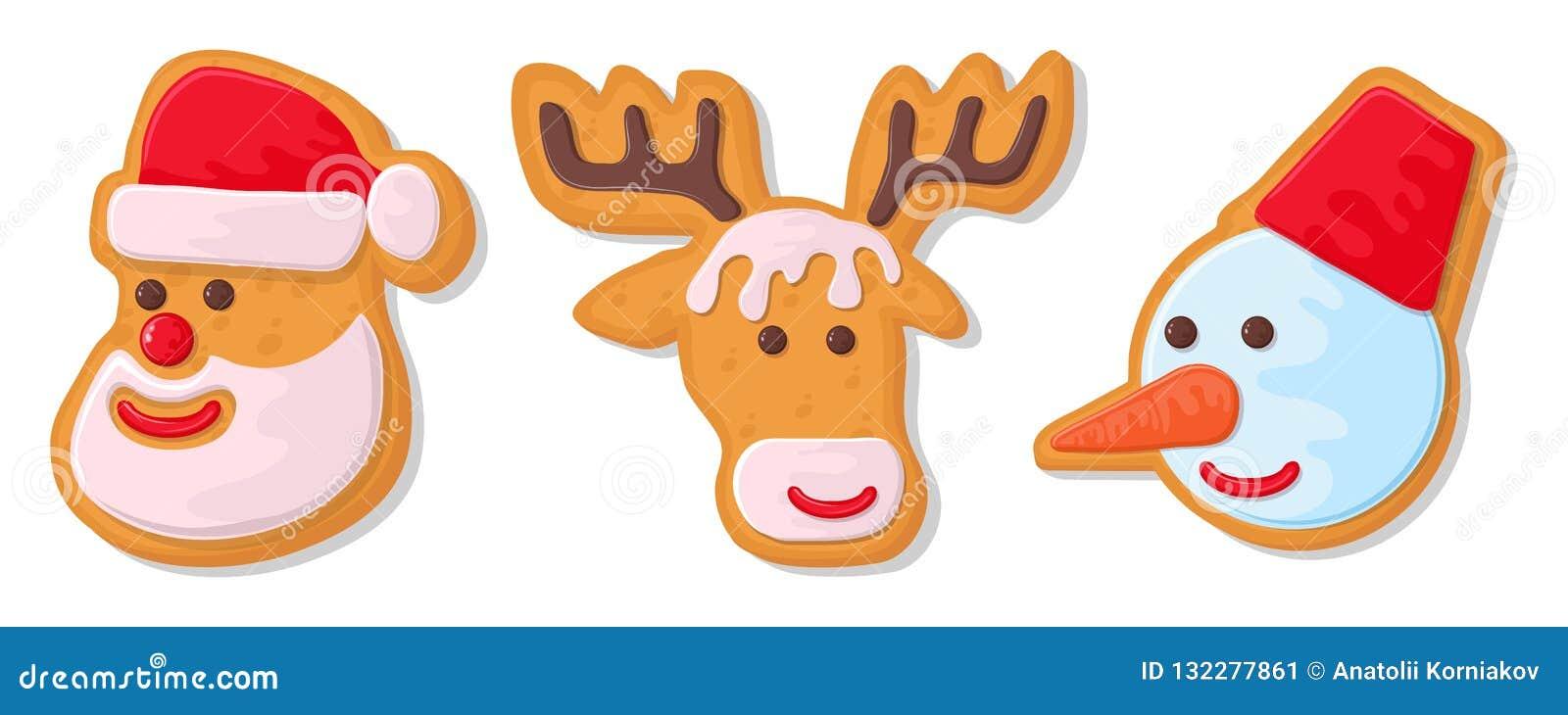 Inställda julkakor Ställ in av olika pepparkakakakor för jul Pepparkaka för nytt år i form av jul