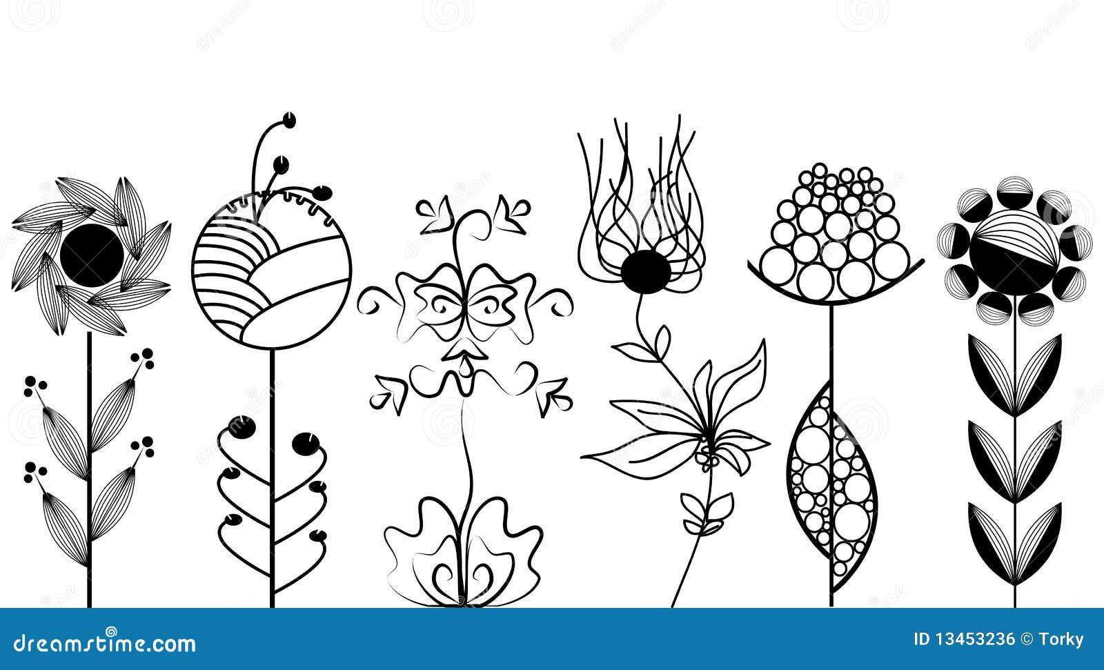 Inställda konstnärliga blommor